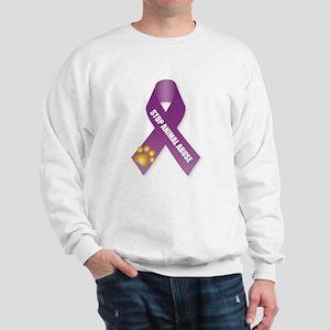 Stop Animal Abuse Ribbon Sweatshirt
