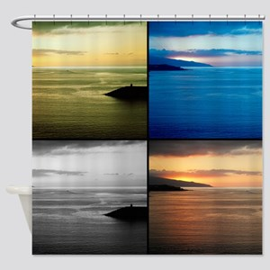 Quadriptych seascape Shower Curtain