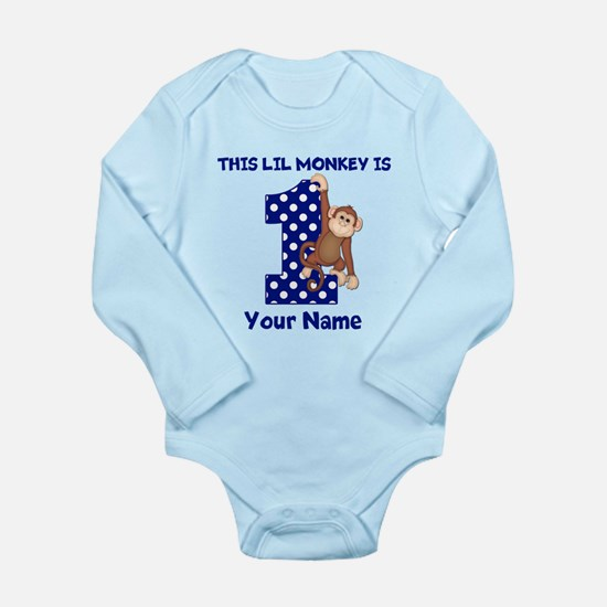 This lil Monkey Blue 1st Birthday Body Suit