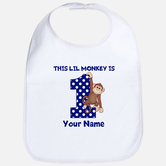 This lil Monkey Blue 1st Birthday Bib