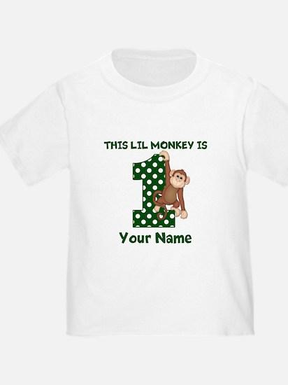 1st Birthday Monkey Green T-Shirt