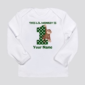1st Birthday Monkey Green Long Sleeve T-Shirt