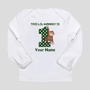 1st Birthday Monkey Green Long Sleeve T-Shirt