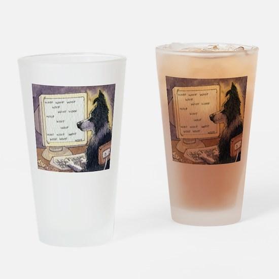 Border Collie dog writer Drinking Glass