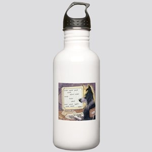 Border Collie dog writer Water Bottle