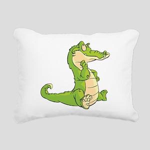 Thinking Crocodile Rectangular Canvas Pillow