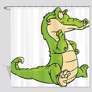 Thinking Crocodile Shower Curtain
