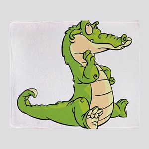 Thinking Crocodile Throw Blanket