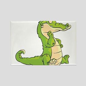 Thinking Crocodile Rectangle Magnet