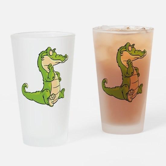 Thinking Crocodile Drinking Glass