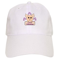 I Love Chihuahuas Cartoon (Pink) Baseball Cap