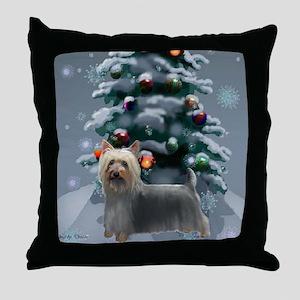 Silky Terrier Christmas Throw Pillow