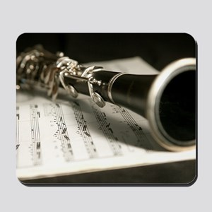 clarinet and Music Case Mens Full Shirt Mousepad