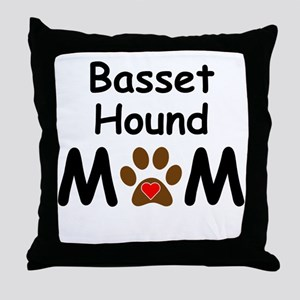 Basset Hound Mom Throw Pillow