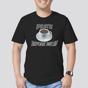 Death Before Decaf Men's Fitted T-Shirt (dark)