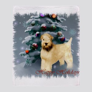 Wheaten Terrier Christmas Throw Blanket