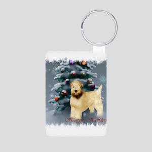 Wheaten Terrier Christmas Aluminum Photo Keychain