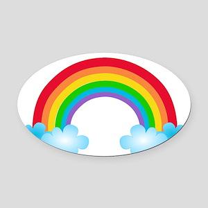 Rainbow & Clouds Oval Car Magnet