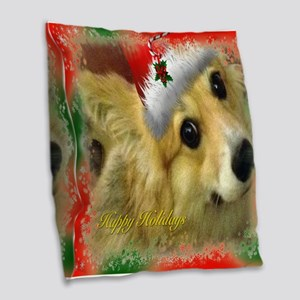 Happy Holidays Corgi Burlap Throw Pillow