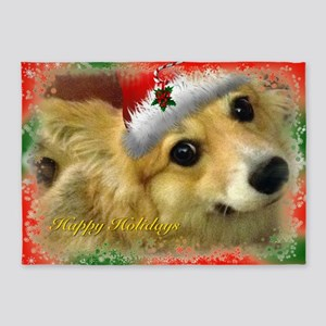 Happy Holidays Corgi 5'x7'Area Rug