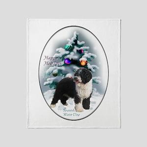 Spanish Water Dog Christmas Throw Blanket