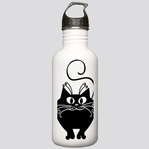 grinning fat black cat Stainless Water Bottle 1.0L