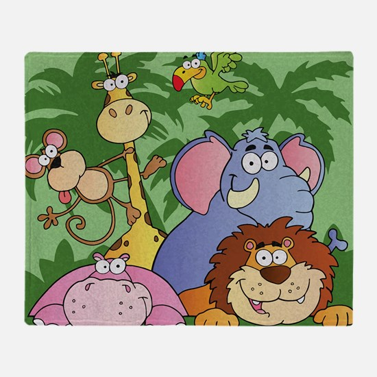 cute cartoon jungle animals cartoon  Throw Blanket