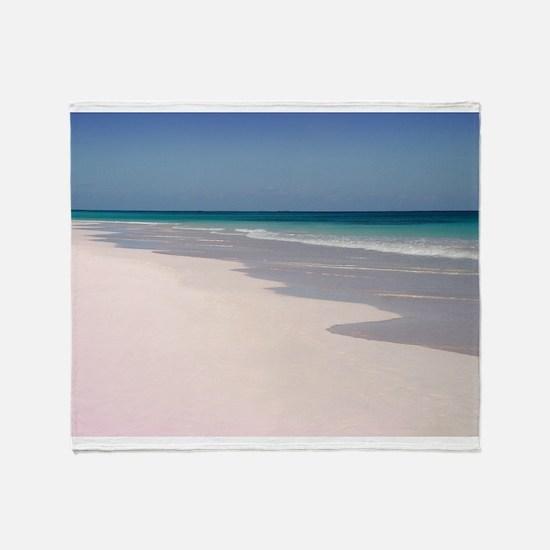Pink Sands Beach Throw Blanket