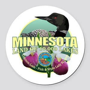 Minnesota State Bird & Flower Round Car Magnet