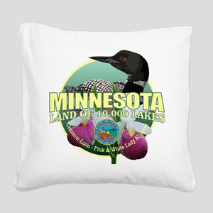 Minnesota State Bird & Flower Square Canvas Pillow