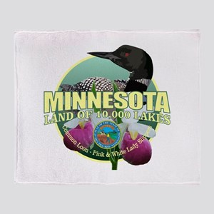 Minnesota State Bird & Flower Throw Blanket