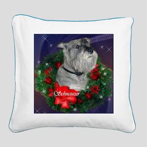 Standard Schnauzer Christmas Square Canvas Pillow