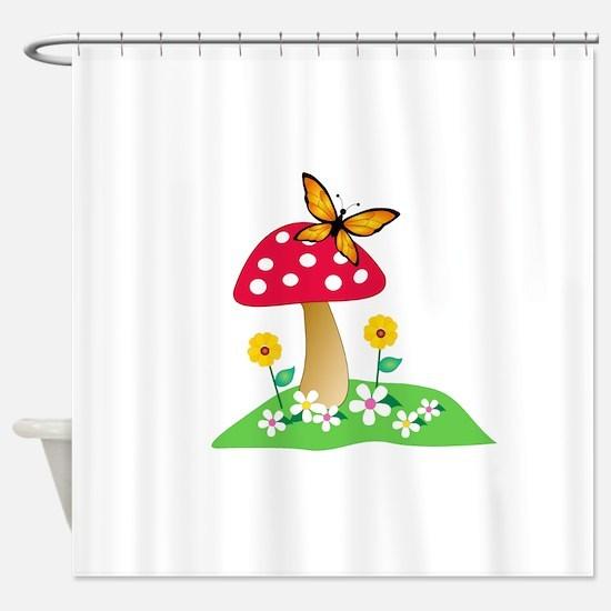 Toadstool w/ Orange Butterfly Shower Curtain