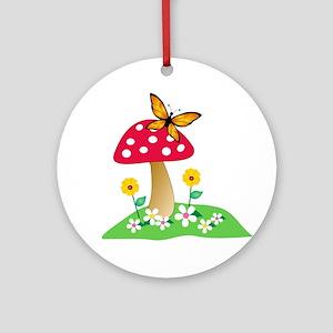 Toadstool w/ Orange Butterfly Ornament (Round)