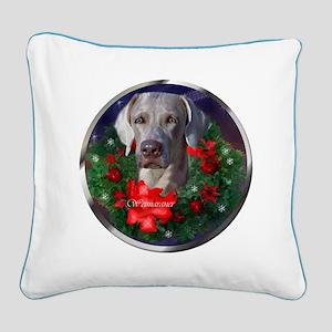 Weimaraner Christmas Square Canvas Pillow