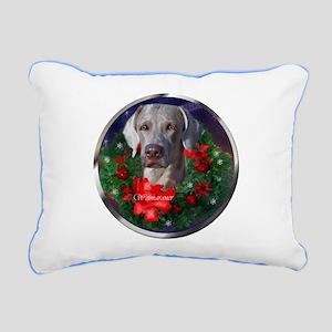 Weimaraner Christmas Rectangular Canvas Pillow