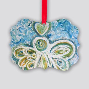 Golden Blue Guardian Angel Picture Ornament
