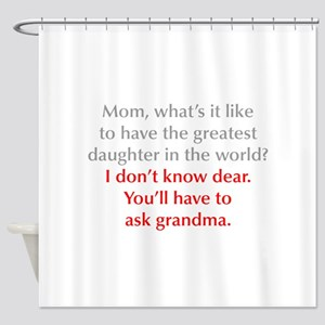 greatest-daughter-opt-gray-red Shower Curtain