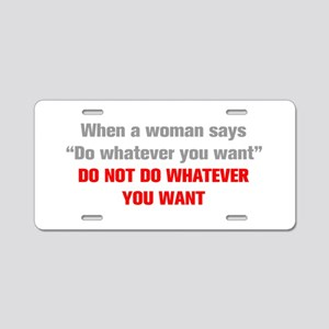when-a-woman-akz-gray-red Aluminum License Plate