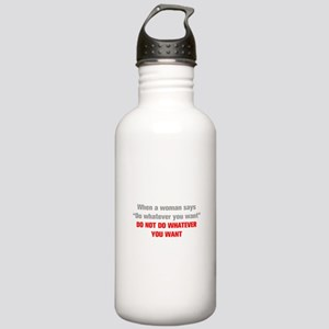 when-a-woman-akz-gray-red Water Bottle