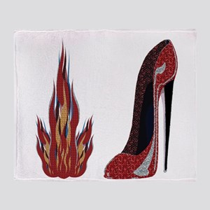 Red Hot Stiletto Shoe Art Throw Blanket