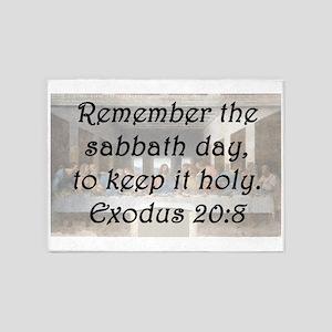 Exodus 20:8 5'x7'Area Rug