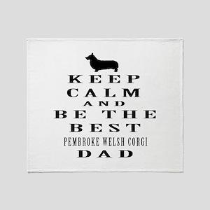 Pembroke welsh corgi Dad Designs Throw Blanket
