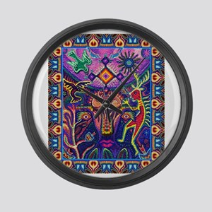 Huichol Dreamtime Large Wall Clock