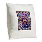 Huichol Dreamtime Burlap Throw Pillow