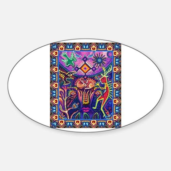 Huichol Dreamtime Sticker (Oval)