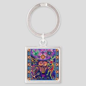 Huichol Dreamtime Square Keychain