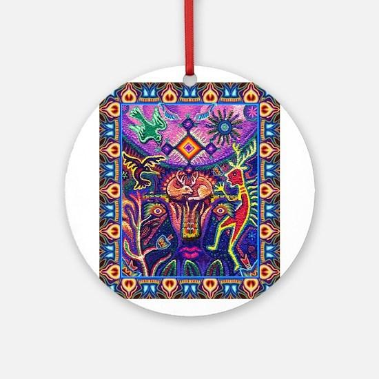 Huichol Dreamtime Ornament (Round)