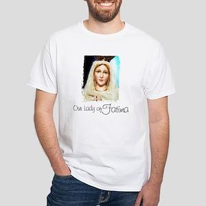Virgin of Fatima over White T-Shirt