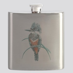 Watercolor Painting Kingfisher Bird Flask